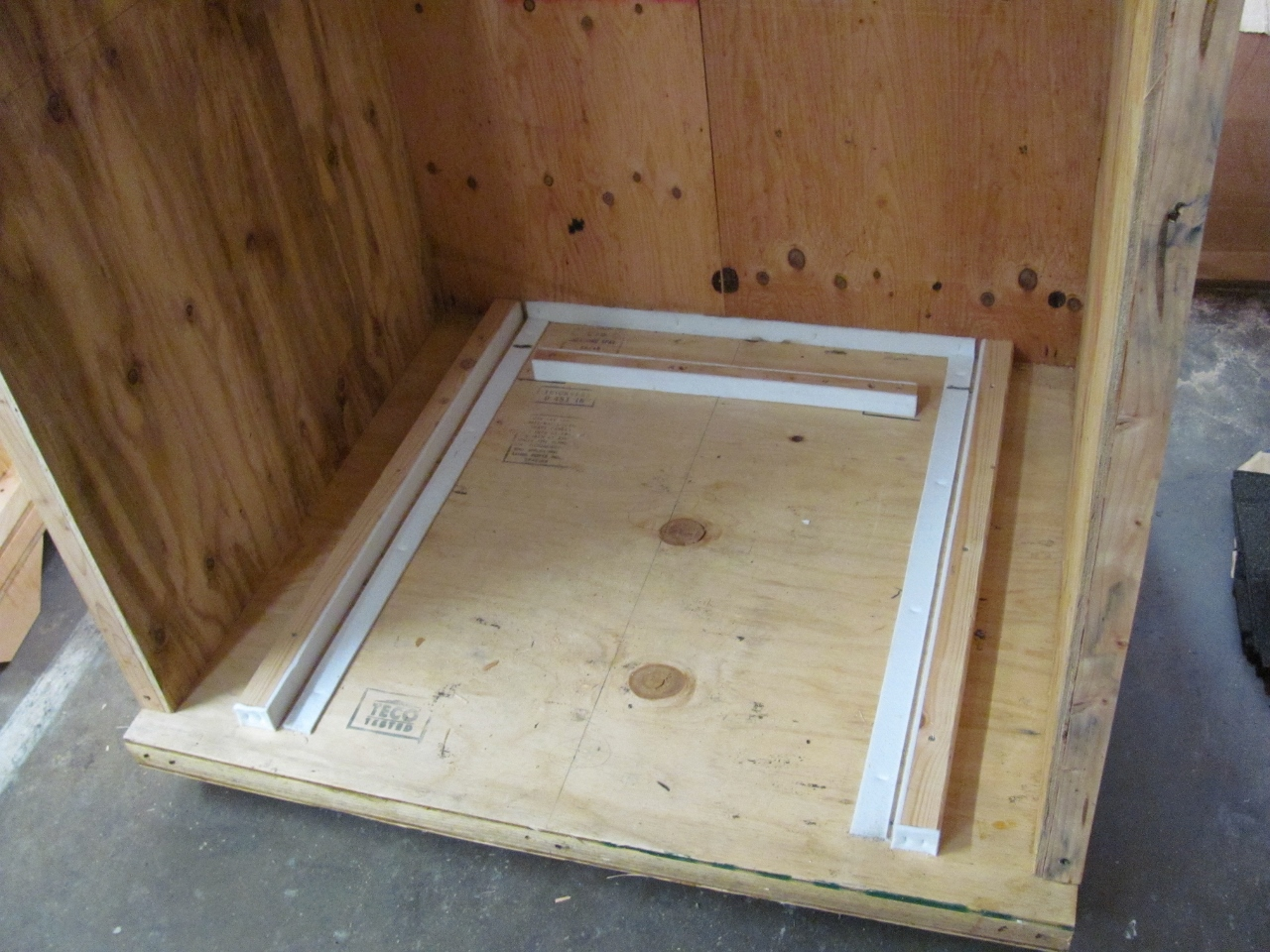 Inside a custom crate designed for a trade show stand